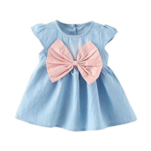 SOMESUN Kleid Mädchen Baby Bowknot Dress Solid Denim (6 -12 Monate, Rosa) (Denim-kleid Button-down)