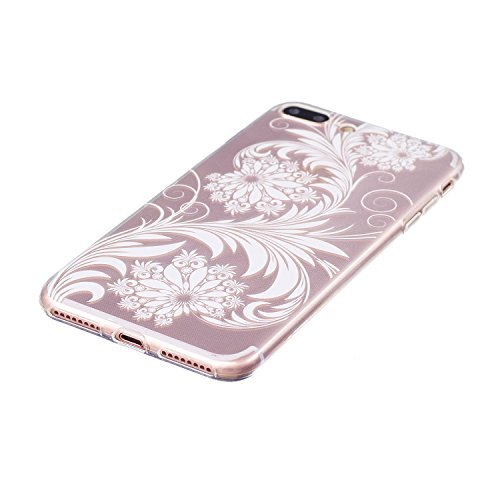 iPhone 7 Plus hülle Case Cozy Hut Ultra Hybrid TPU Bumper for iPhone 7 Plus Hülle Schutzhülle Shock Absorption Plating TPU Case Silicone Cover für iPhone 7 Plus (5,5 Zoll) (2016) - Lotus Weiße Blumen