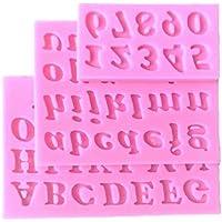 Goliton 3 piezas letras y números de postre de silicona molde de galletas con forma de pastel de luna - rosa