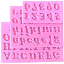 Goliton 3 piezas letras y números de postre de silicona molde de galletas con forma de