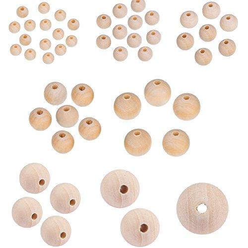 TOAOB 170 Stück 6mm bis 25mm Holzperlen runde Natürliche gemischte Größe Perlen für Schmuckherstellung