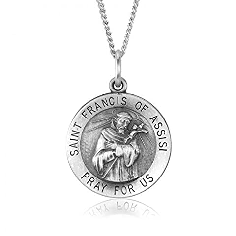 Saint Francis of Assisi 18.5mm Sterling Silver Pendant Charm
