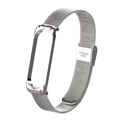 Für Xiaomi Mi Band 4 Armband,Colorful Metallarmband Ersatzarmbänder Ersatz Strap Erweiterbar Armband für Xiaomi Mi Band 4 (Silber) -