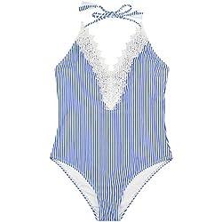 Tuopuda Costume Intero Donna Vintage Pizzo Elegante Monokini One Piece Bikini Set Costumi da Bagno da Spiaggia Costume da Bagno Beachwear balneare Scollato Mare Costume
