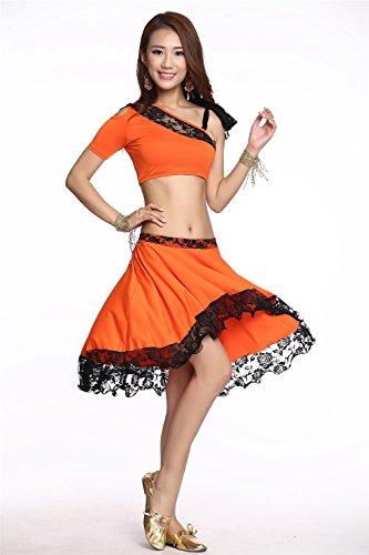 Dancewear Danza del ventre Custome Set Sling singola spalla Top & Exotic Pizzo Edge gonna Orange