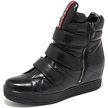 45348b4a9e759 Prada 4492M Sneakers Nere Donna Sport Nappa Sport Zeppe Scarpe Women Shoes