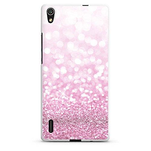 DeinDesign Huawei Ascend P7 Hülle Silikon Case Schutz Cover Glitzer Look Pink Glanz