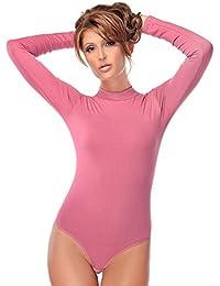 Evoni Langarm-Damenbody | Overall Bodysuit mit Halbkragen | Verschluß-Haken | in Verschiedenen Farben | Stilvoller Damen-Body mit Langen Ärmeln | Unterzieh-Body mit optimaler Passform