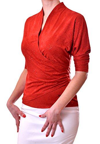 Tag Kleid Liebe Label (PoshTops DamenBluse mit V-Ausschnitt Dehnbares Material Frauen Shirt Damenoberteil 3/4 Arm Größen S – XXXL Abendkleidung Freizeitkleidung Plus Size (Burgunderrot, XXL / 46))