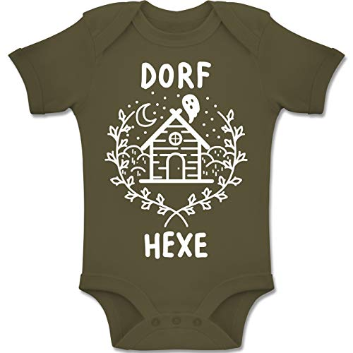 Shirtracer Anlässe Baby - Dorfhexe Halloween - 6-12 Monate - Olivgrün - BZ10 - Baby Body Kurzarm Jungen Mädchen (6 Erklärung Von Halloween)