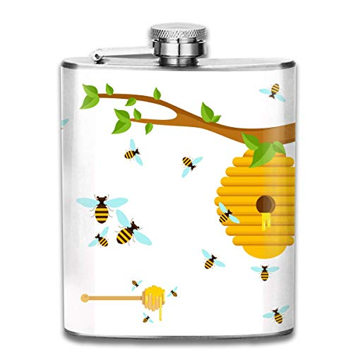 Rundafuwu Flask for Liquor7 Oz Stainless Steel Flask Cartoon Flat Honey Bees Fashion Portable Stainless Steel Hip Flask Whiskey Bottle for Men and Women 7 Oz