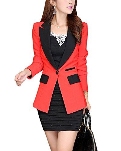 ZhuiKun Damen Blazer Casual Langarm Slim Anzug Jacke Orange XL