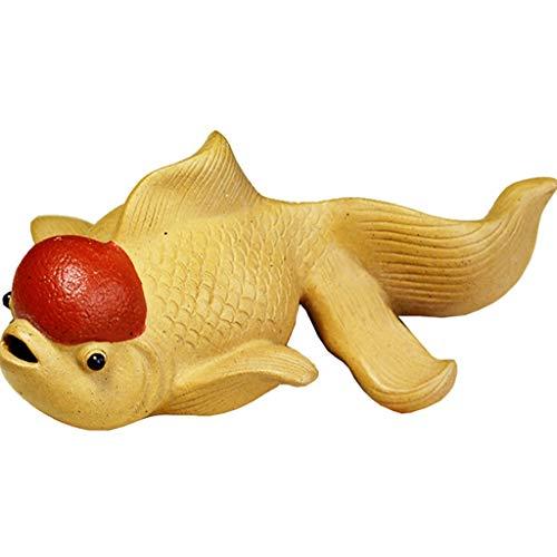 Goldfisch Goldfisch Handwerk Tee Haustier Dekoration Lila Sand Tee Haustier Ornamente niedlichen Goldfisch Tee Spielzubehör Skulptur ( Color : Yellow , Size : 4.5*10CM ) -