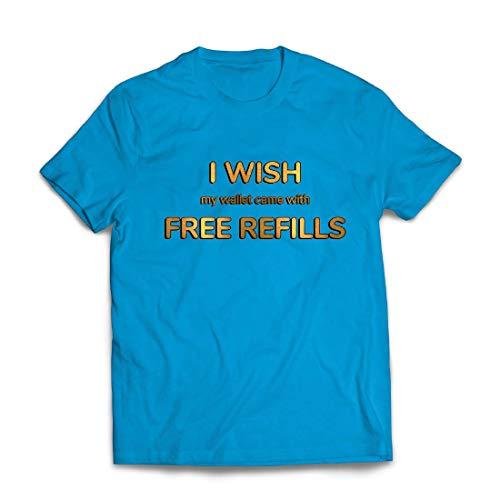 lepni.me Männer T-Shirt Ich wünschte, Meine Brieftasche wäre mit kostenlosen Nachfüllungen ausgestattet. (Large Blau Mehrfarben) (Paare Halloween-kostüm Original Ideen)