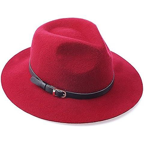 MEICHEN-Europe Spring gorro de lana señoras británico de jazz Hat Hat color sólido accesorios de cuero auténtico sombrero,púrpura