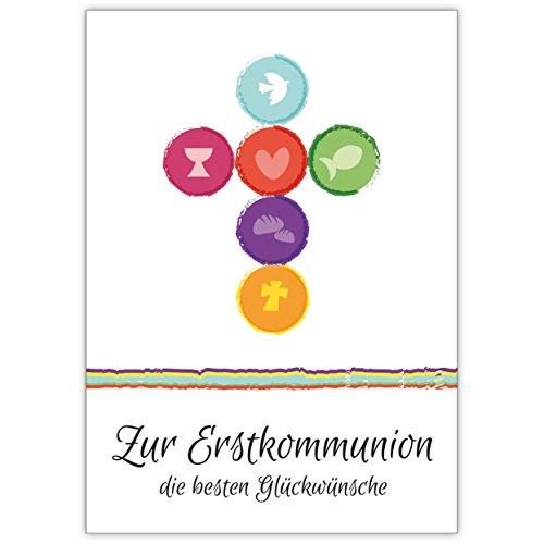 Im 5er Set: Frische, moderne Kommunions Karte mit Kreuz aus Symbolen: Zur Erstkommunion die besten Glückwünsche