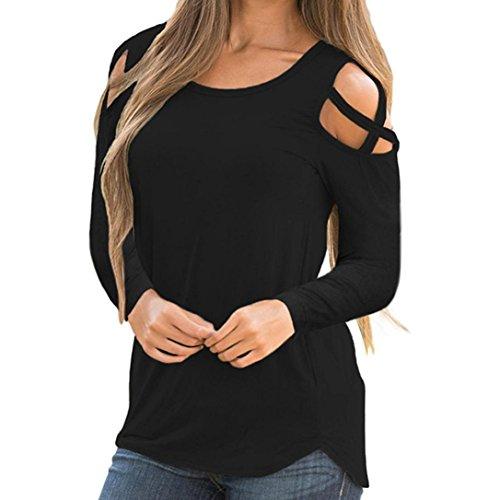 ESAILQ Damen in Trend-Farben aus 100% Baumwolle, auch in Übergrößen, längeres Shirt für drüber und drunter (XXL,Schwarz)