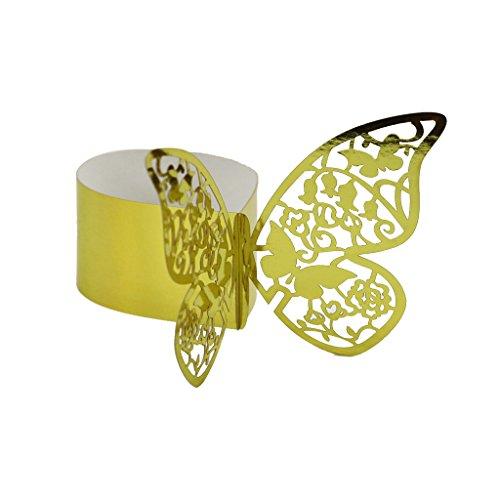 50pcs Papillon Anneau Rond de Serviette Boucle Décoration de Table de Mariage - Doré