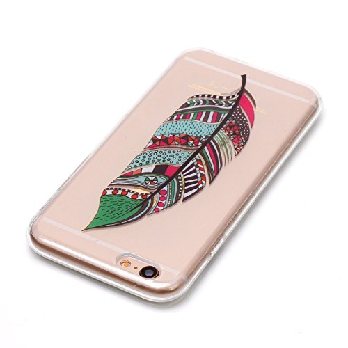 Coque Étui Transparent pour iPhone 6 / 6S Plus, iPhone 6 / 6S Plus Coque en Silicone, BONROY® Cristal Clear Ultra Slim Mince Transparent TPU Silicone Souple Coque Gel Soft Case Housse Anti-choc Etui C Plumes tribales