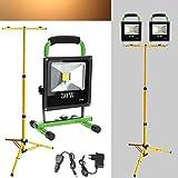 Hengda 2*LED Fluter 30W Warmweiß Akku Strahler Mit Teleskop-Stativ Arbeitsscheinwerfer Werkstattlampen Handlampe