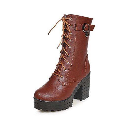 AllhqFashion Damen Schnüren Mitte-Spitze Weiches Material Rund Zehe Hoher Absatz Stiefel, Grau, 34