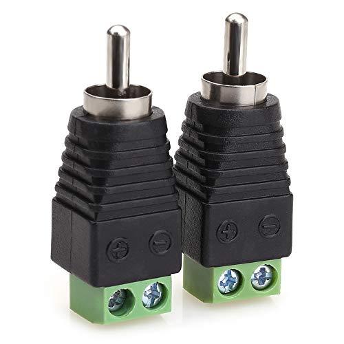 NANYI Connecteur mâle RCA, prise mâle RCA RCA à l'adaptateur de connecteur audio / vidéo de borne à vis AV pour caméra de vidéosurveillance (Paquet de 2)