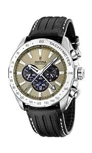 Festina - F16489/7 - Montre Homme - Quartz Chronographe - Chronomètre/ Aiguilles lumineuses - Bracelet Cuir Noir
