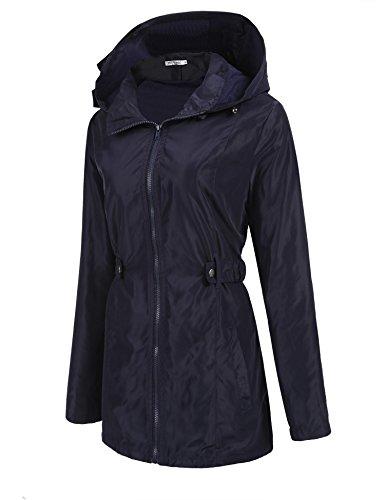 Meaneor Abrigo Mujeres Impremeables Otono Manga Larga con Capucha Coat Jacket Casual al Aire Libre(Azul-XL)