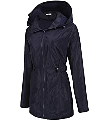 Meaneor Mujer Abrigo Impermeable Chaqueta con Capucha Coat Jacket Rompevientos