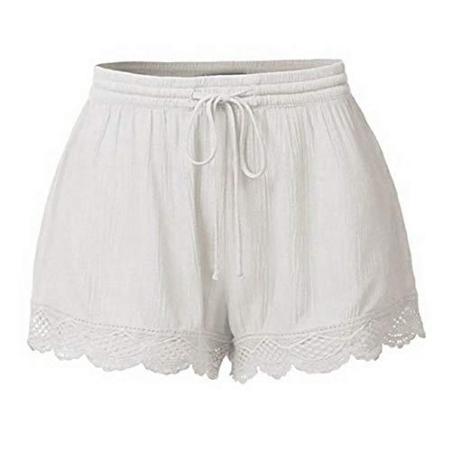KUDICO Damen Shorts Mode Spitze Yoga Sporthosen Sommerhosen High Waist Kordelzug Kurze Hose mit Taillenband Elegant Hotpants Strandshorts (Weiß, EU-40/CN-XL) Boys Graphic Fleece