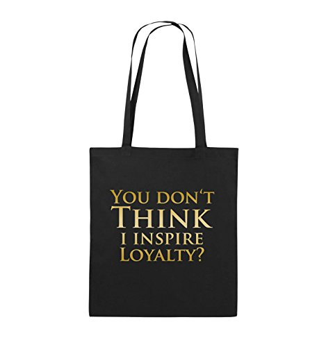 Comedy Bags - YOU DON'T THINK - NARCOS - Jutebeutel - lange Henkel - 38x42cm - Farbe: Schwarz / Pink Schwarz / Gold