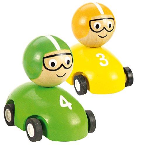 Bigjigs Toys Voiture de Course à Friction (Lot de 2 - Jaune et Vert)