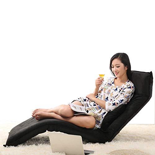 Oevina Lounge Schlafsofa Faltbare, verstellbare Bodenliege Sleeper Futon Matratze Seat Chair w/Pillow (Farbe : Schwarz) - Metall-futon-matratze