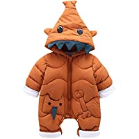 Zilee Newborn Baby Long Sleeve Hooded Romper - Infant Warm Velvet Jumpsuit Toddler Crawl Cotton Outfit Boys Girls Outdoor Fleece Naughty Coverall Winter Autumn Gray Orange