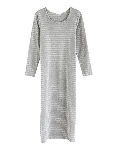 Damen Lange Ärmel Rundhals Stripes Kleid Freizeitkleider Maxikleid Gräulich