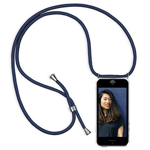 Zhinkarts Handykette kompatibel mit Apple iPhone 5 / 5S / SE - Smartphone Necklace Hülle mit Band - Schnur mit Case zum umhängen in Blau