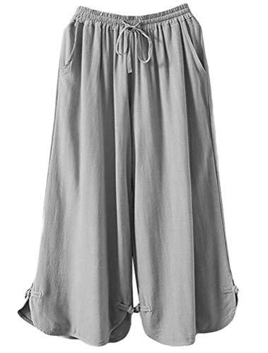 Mallimoda Damen Leinenhose Weites Bein Hose Elastische Taille Hosenrock mit Hüftgurt Art 2-Grau XXL - Wide-leg-reise-hose
