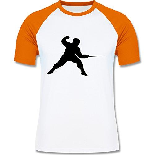 Kampfsport - Fechten - zweifarbiges Baseballshirt für Männer Weiß/Orange