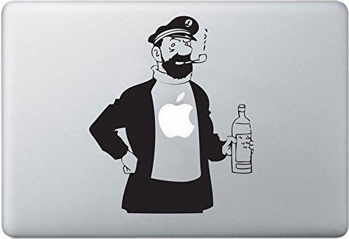 Apple MacBook Air Pro + Tintin Captain Haddock + Aufkleber Sticker Skin Decal + Tim und Struppi Captain Girl