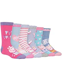 Peppa Pig - 6 Pack Girls Boys Kids Bright Cute Patterned Cotton Rich Peppa Pig and George Socks