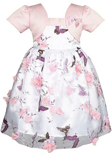Mädchen Kleid 2-in-1 Blume Dimensional Schmetterling Festzug Gr.98-104 (Weihnachten Kleid Boutique)
