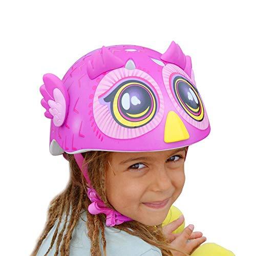 COKECO Helm für Kinder Kinder Fahrradhelm Perfekt für Radfahren und Schießen Verstellbarer Kopfbügel Belüftetes Design,Umfang 48-54CM Size25 * 21cm Rosa Eule