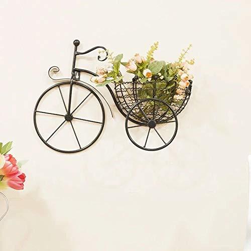 KEWEI Blumenständer im Fahrrad-Design, Blumentopfregal, europäischer Stil, Schmiedeeisen, Wandmontage, kreatives Wohnzimmer, Balkon, kleine Blumenständer, Farbe: Schwarz Schwarz