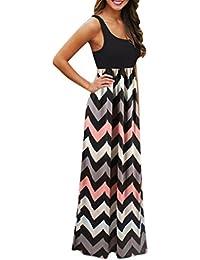 f1cf80f62e6 SOMESUN Damen Lang Kleid Maxi Dress Sommerkleid Kleider Maxikleid Streifen  Schulterfrei Rundhals High Waist Lange T