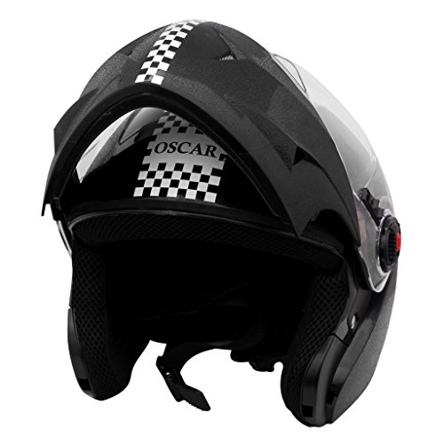 Steelbird SB-41 Oscar Dashing Flip-Up Helmet (Black, L)