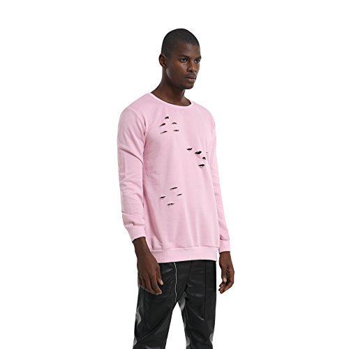 Pizoff Unisex Hip Hop basic Langärmliges Langes Jersey Sweat T-shirt rund Saum P3265-pink