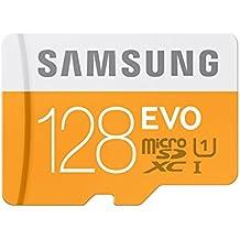 Samsung EVO - Tarjeta de memoria microSD de 128 GB con adaptor SD (velocidad hasta 48 MB, Class 10, resistente al