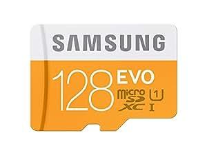 Samsung MB-MP128DA/EU Scheda Micro SDXC EVO con Adattatore SD, UHS-1, 128 GB, Bianco/Arancione