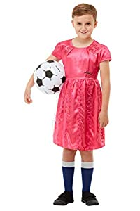 Smiffys 48756M - Disfraz de David Walliams con licencia oficial de The Boy in The Dress Deluxe, color rosa, talla M, 7-9 años