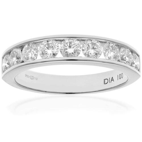 Naava Women's Platinum Channel Set Half Eternity Ring, IJ/I Certified Diamonds, Round Brilliant, 1ct